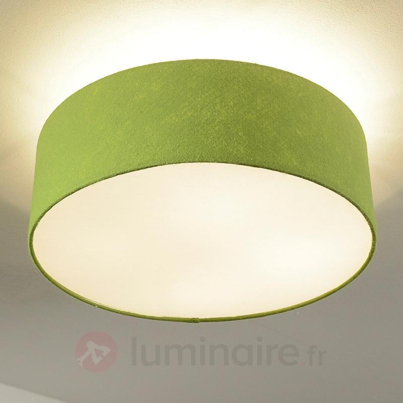 Gala - plafonnier rond vert, abat-jour en feutre - Plafonniers en tissu
