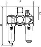 Service unit 3-part variobloc with PC container, Size 2, G 1 - Service unit, 3-piece with polycarbonate bowl