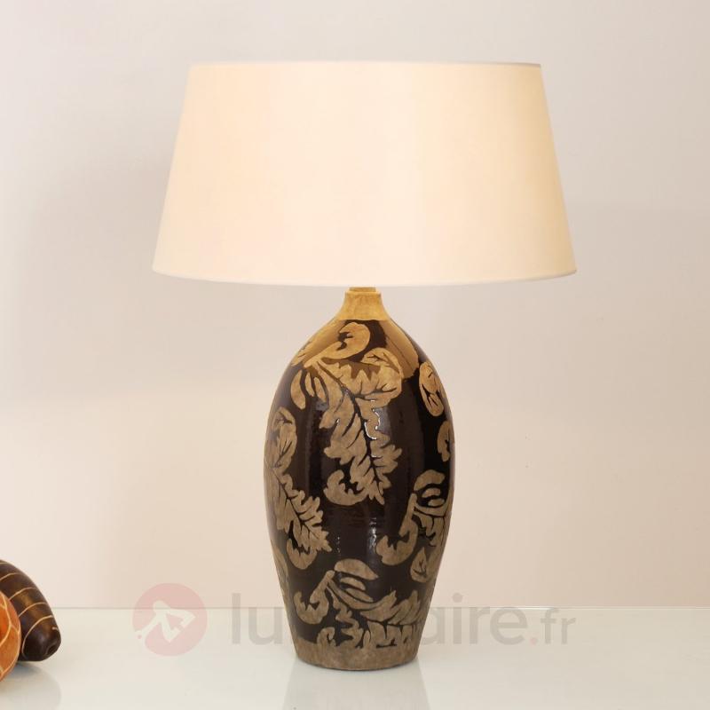 Lampe à poser Toulouse 65 cm noir et boue - Lampes à poser en tissu