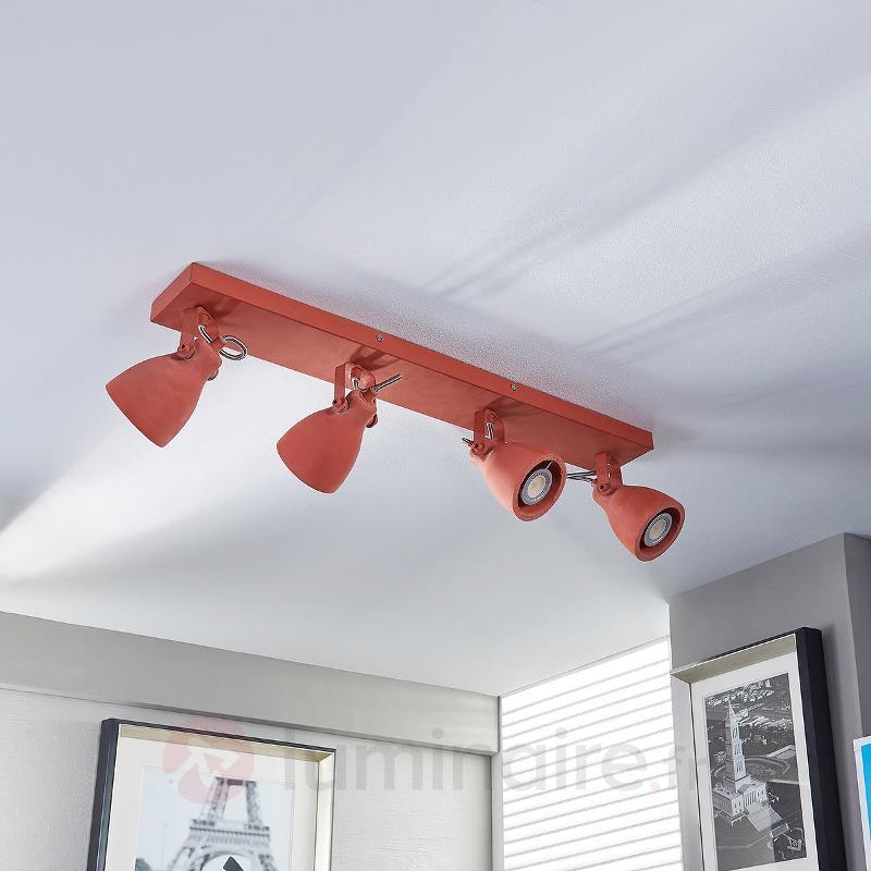 Plafonnier LED à quatre lampes Kadiga rouge - Spots et projecteurs LED