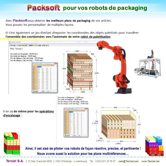 Piloter la palettisation avec Packsoft - Vos robots réalisent les encaissages et palettisations de Packsoft