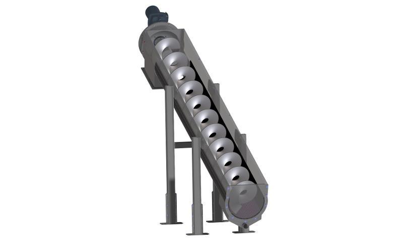 Custom spiral conveyors for recycling materials - Sewage sludge spiral conveyor