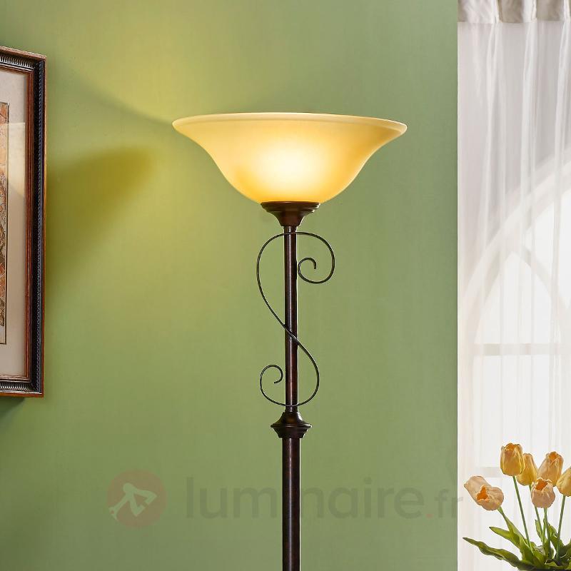 Lampadaire Svera style champêtre, aspect rouille - Lampadaires rustiques