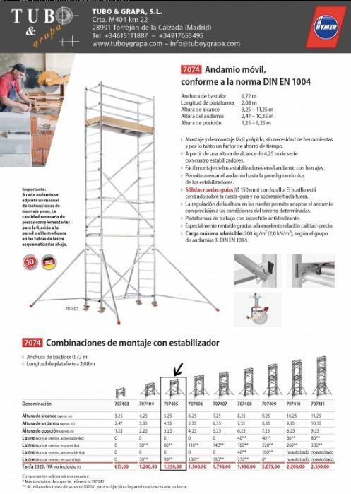 andamio de aluminio  - torre movil de alumino ligero