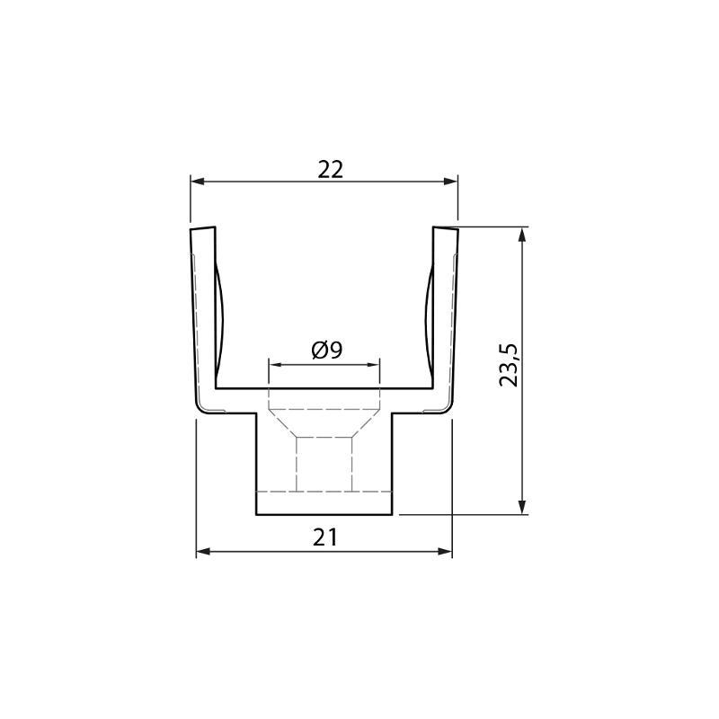 Clips Set for KLED-04 - Glass frame tubes stainless steel