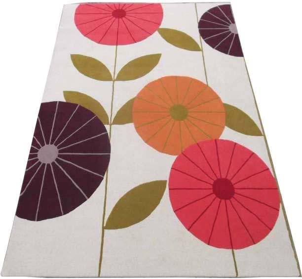 Hand Tufted Rugs; Latexed back with cotton cloth backing - NT-005, Floral design, Cream/Red/Purple, Wool Rugs and Carpets