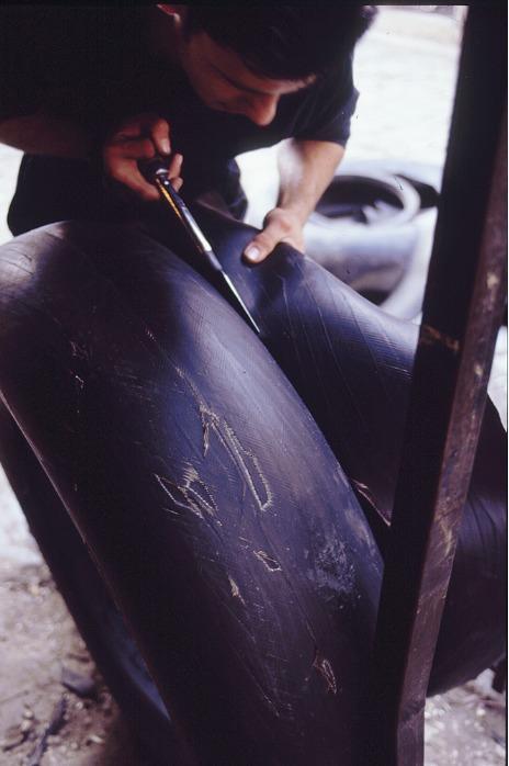 Panier en pneu recyclé - Cabas en pneu