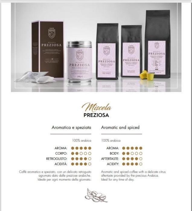 Miscela  PREZIOSA 100% Arabica - Caffè Italiano di alta quality, produzione artigianale