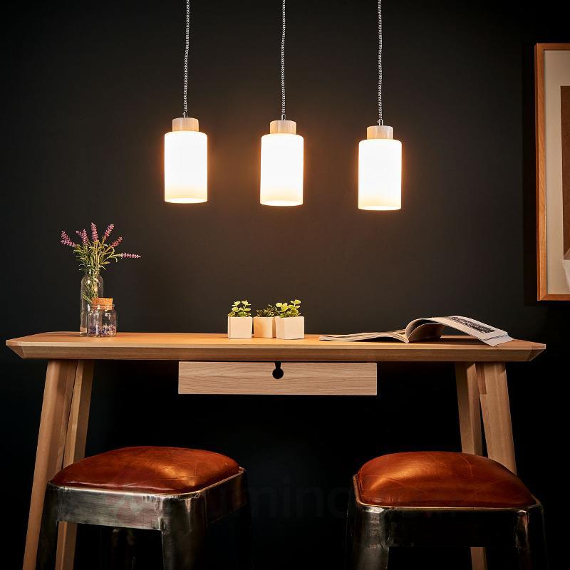 Suspension barre Bosco blanc à 3 lampes - Cuisine et salle à manger