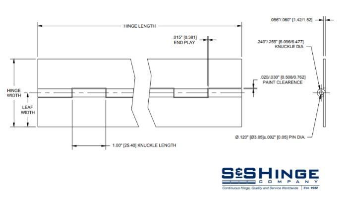 Hinges - 1600 Series - CAD files - 1605x96