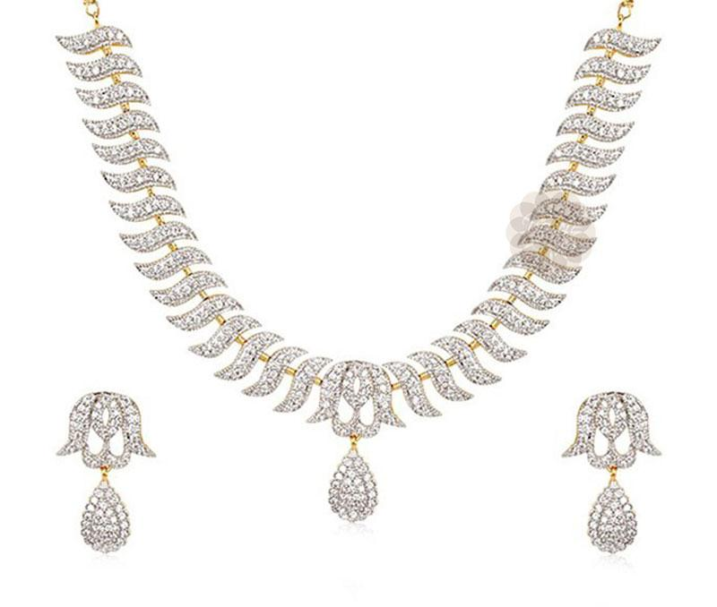 Designer Silver Necklace and Earrings Set -