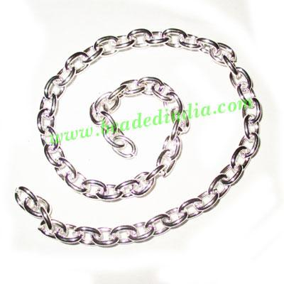 Silver Plated Metal Chain, size: 1x6mm, approx 17 meters in  - Silver Plated Metal Chain, size: 1x6mm, approx 17 meters in a Kg.