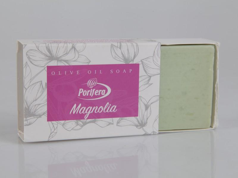 Handmade olive oil soaps with magnolia -