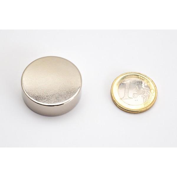 Neodymium disc magnet 30x10mm, N45, Ni-Cu-Ni, Nickel coated - Disc