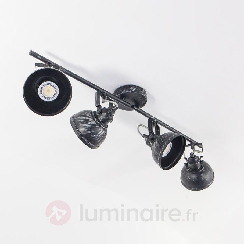 Plafonnier allongé Etienne, noir-argenté - Plafonniers rustiques