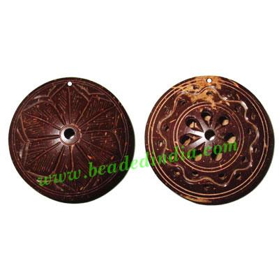Handmade coconut shell wood pendants, size : 52x18mm - Handmade coconut shell wood pendants, size : 52x18mm
