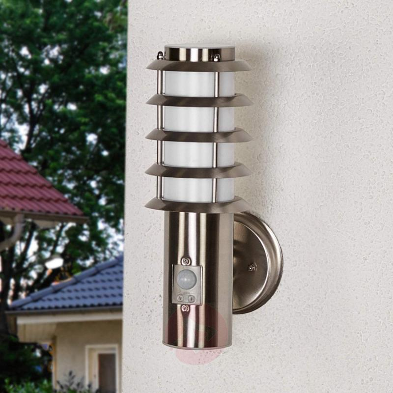Selina - sensor outdoor wall light with a grid - stainless-steel-outdoor-wall-lights