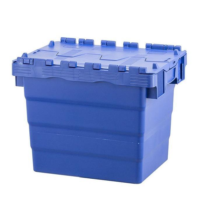 Caixas plásticas - Caixa plástica encaixável 400x300x320mm - tampa articulada de 2 partes