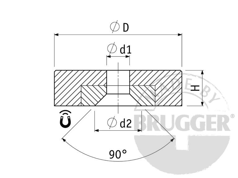 Flat pot magnets NdFeB, with bore and counter bore - null