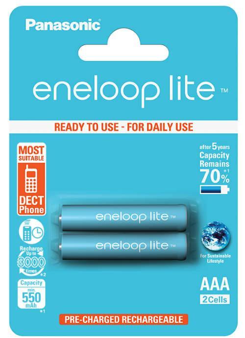 Batterie ministilo ricaricabili Eneloop Lite 2pz - BK-4LCCE/2BE | Blister da 2 pile AAA Panasonic