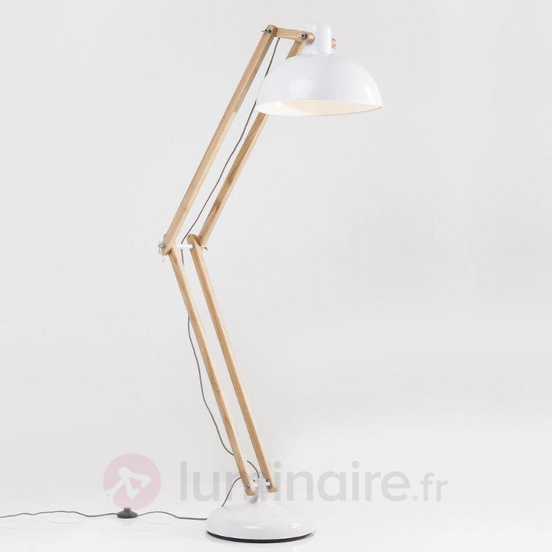 Work Station - lampadaire blanc, éléments en bois - Lampadaires en bois