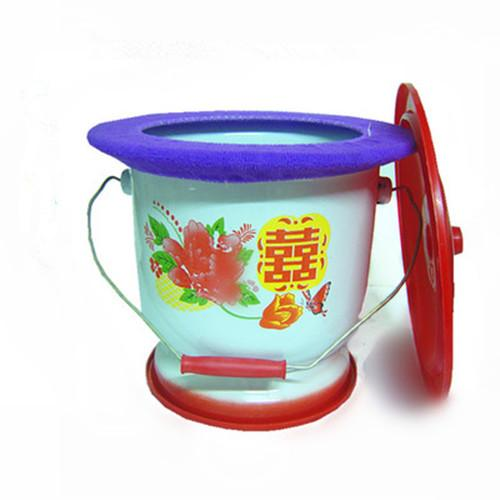 Enamel foot spittoon with handle 26 cm