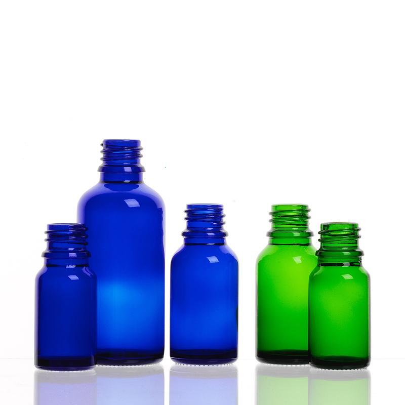 Flacons Bague à vis Verre - FLACON GOUTTE vert et bleu