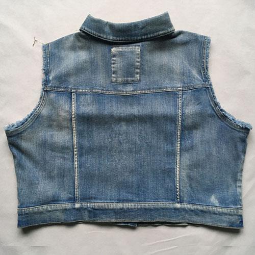 Women's denim waistcoat  jacket vest Stonewashed blue -
