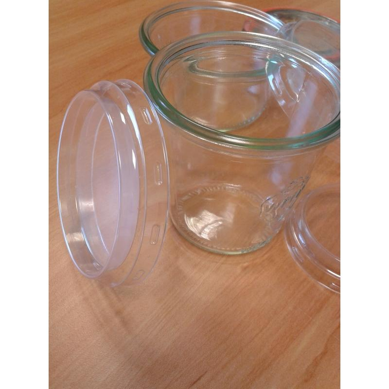 Accessoires WECK® - 24 Coiffes diamètre 80 mm en plastique transparent PET pour bocal WECK
