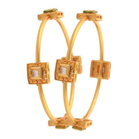 Gold Tone Bangle with Polki  - Zephyrr Fashion Gold Tone Bangle with Polki for Women Size 2.8