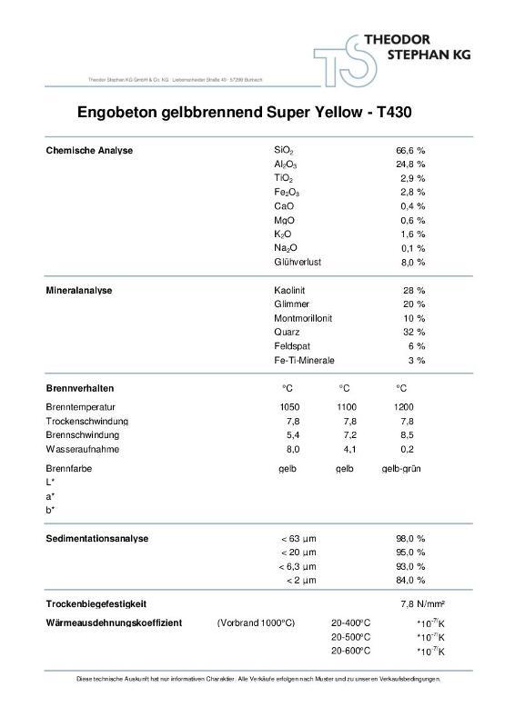 Engobeton gelbbrennend Super Yellow T430 - null