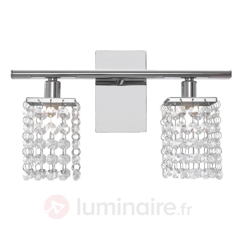 Applique de style, Pyton à 2 ampoules - Appliques chromées/nickel/inox