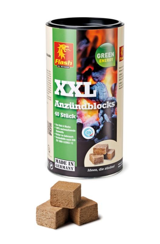 FLASH Anzündblocks XXL aus Holz & Wachs 40er Dose - null
