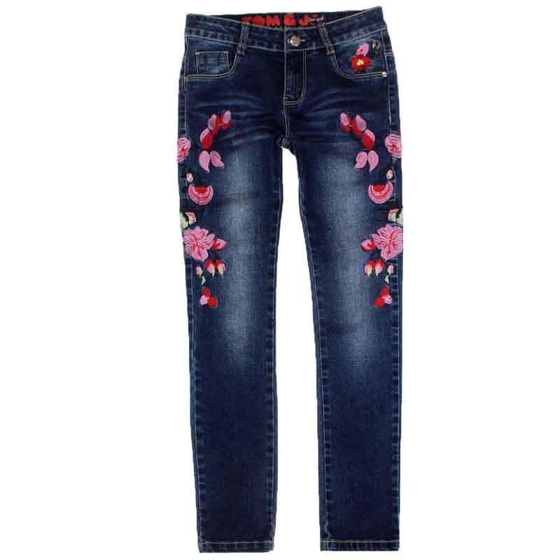 Pantalones en jeans Tom Jo niña