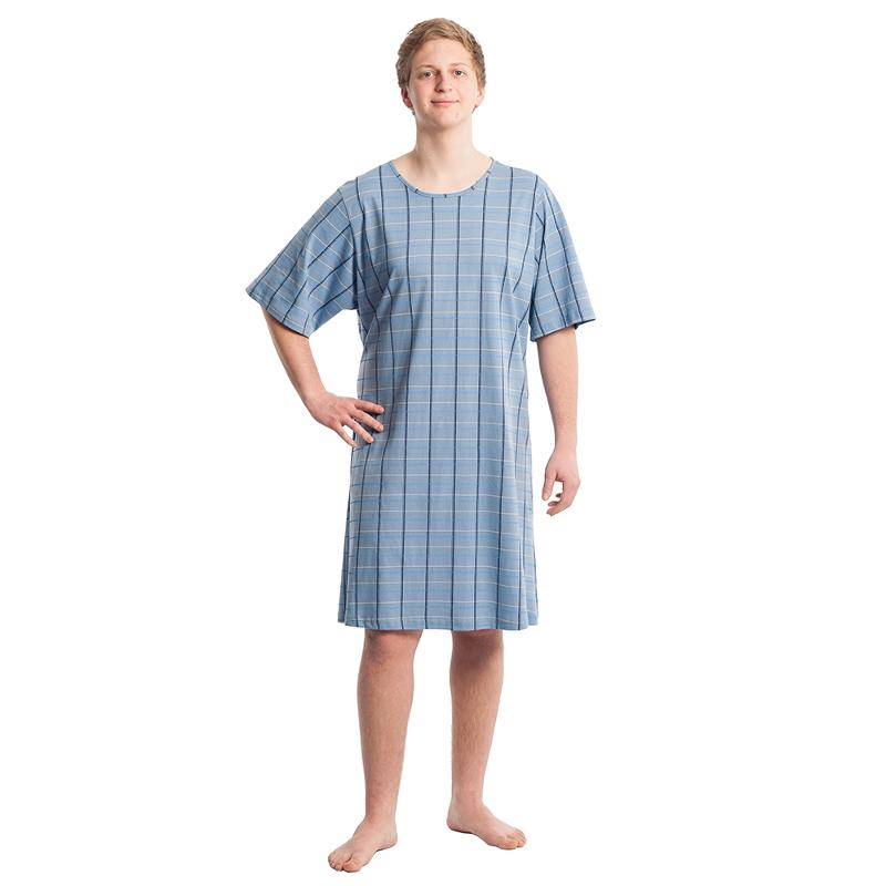 Pflegehemd Herren, blau, Gr. M/L - Pflegehemden