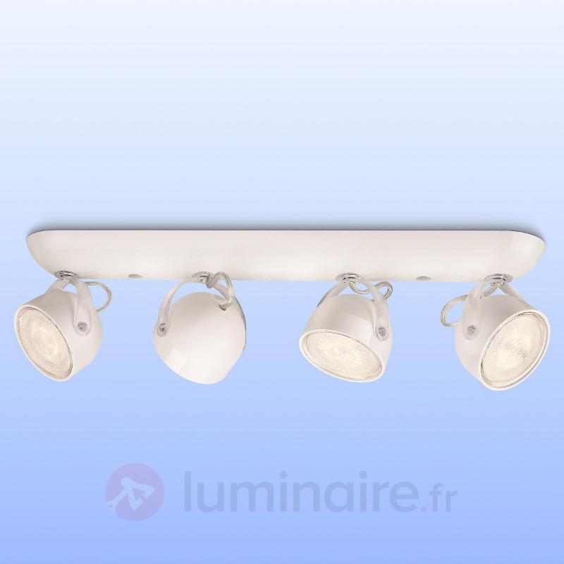 Spot LED moderne Dyna à 4 lampes, blanc - Spots et projecteurs LED
