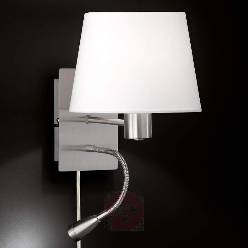With reading light - fabric wall lamp Elsa nickel - Wall Lights