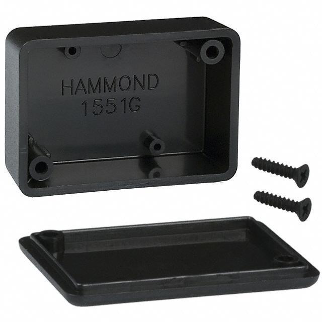 """BOX ABS BLACK 1.97""""L X 1.38""""W - Hammond Manufacturing 1551GBK"""