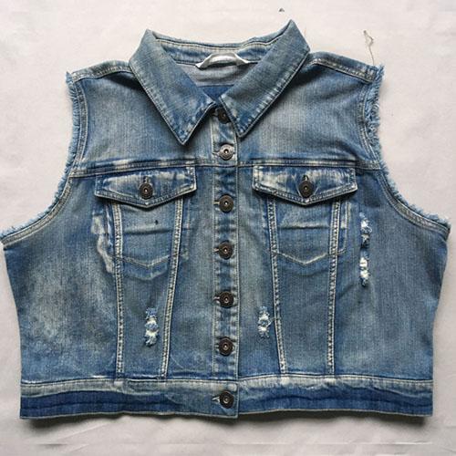 Women's denim waistcoat  jacket vest Stonewashed blue