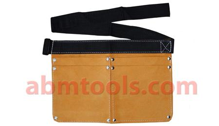 4 Pocket Split Leather Nail Bag - Adjustable nylon belt with plastic buckle.