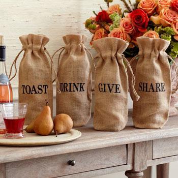 Jute Wine Drawstring Bag - Jute Wine Drawstring Bag, Burlap Gift Wine Bags