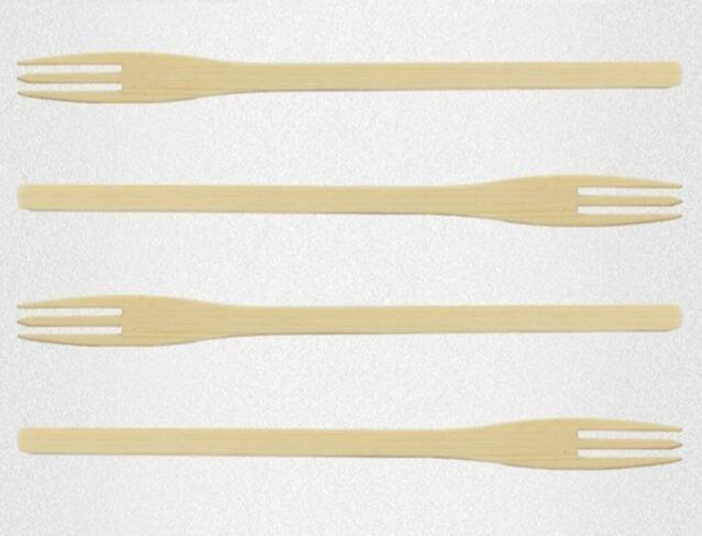 Disposable bamboo fork - Eco-friendly disposable natural bamboo fork for fruit picking