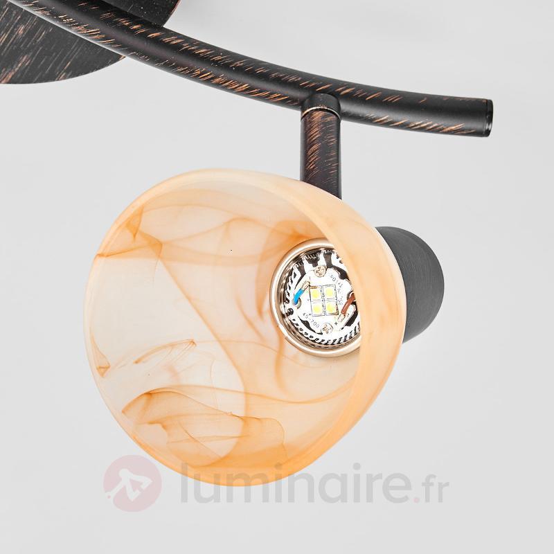 Plafonnier Duena avec abat-jour en verre albâtre - Plafonniers LED