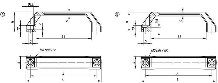 Poignée de manutention - Poignées de manutention, poignées tubulaires et poignées alcôve