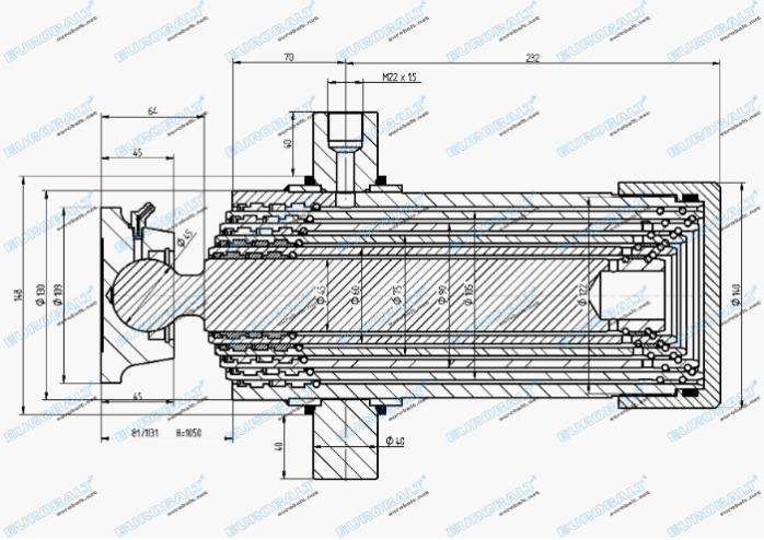 Telescopic five-stage cylinder (piston stroke:1050 mm) - Telescopic five-stage cylinder HC000906