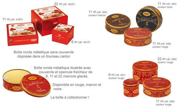 Boîte 6 Marrons sans couvercle dans une boîte carton coloris rouge