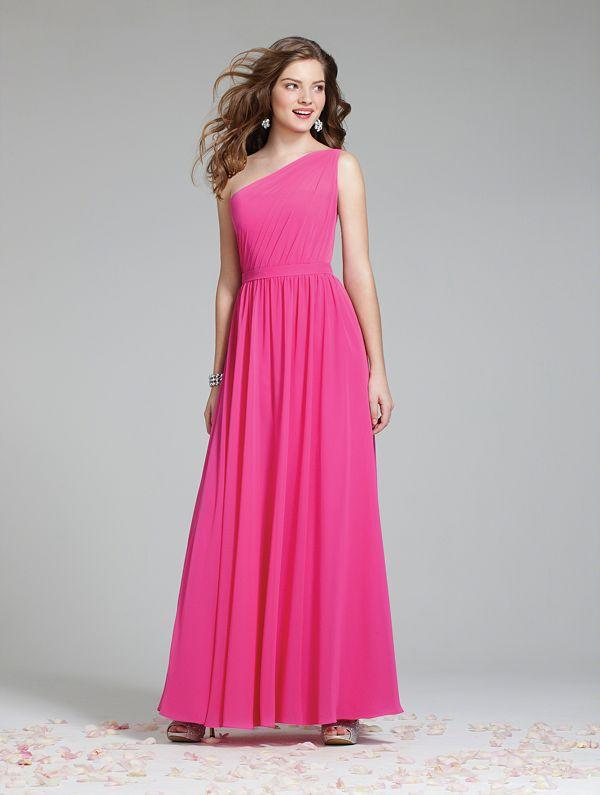 Long Chiffon Bridesmaid Dress with A-line Skirt