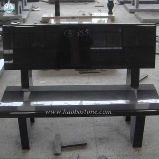Black Granite Grave Bench Monuments - Monument Bench