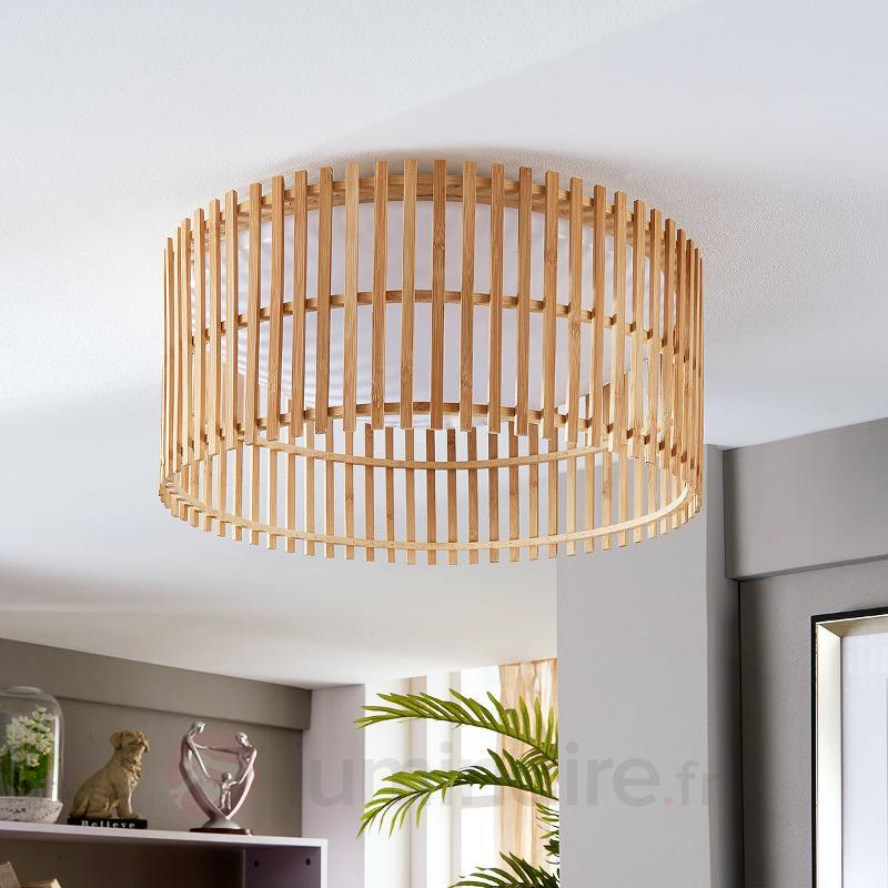 Joli plafonnier LED Leja avec bâtonnets de bambou - Plafonniers LED