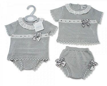 Knitted Spanish Style Baby 2 Pieces Set with Bows -